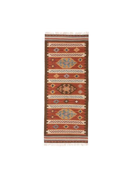 Handgeweven kelim loper Zohra van wol, Bovenzijde: 90% wol, 10% katoen, Onderzijde: 100% wol Bij wollen vloer, Rood, multicolour, 80 x 200 cm