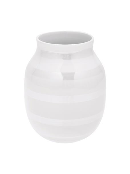 Handgemaakte design vaas Omaggio, medium, Keramiek, Wit, parelmoerkleurig, Ø 17 x H 20 cm