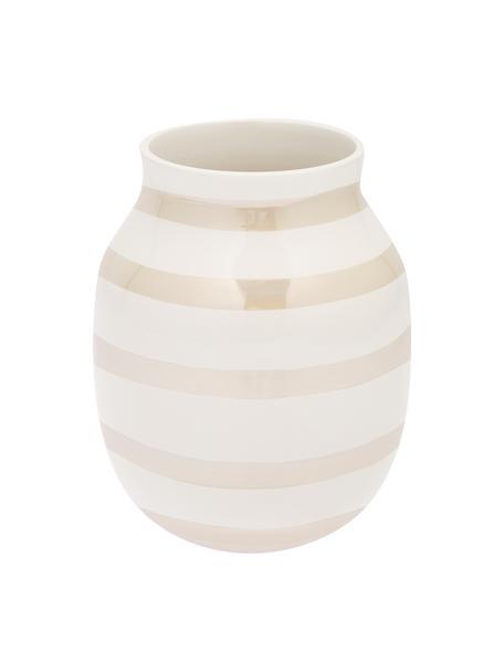 Średni ręcznie wykonany wazon Omaggio, Ceramika, Biały, odcienie perłowe, Ø 17 x W 20 cm