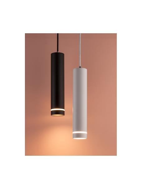 Kleine moderne hanglamp Esca, Lampenkap: gecoat aluminium, Diffuser: acrylglas, Baldakijn: gecoat aluminium, Zwart, Ø 6  x H 30 cm