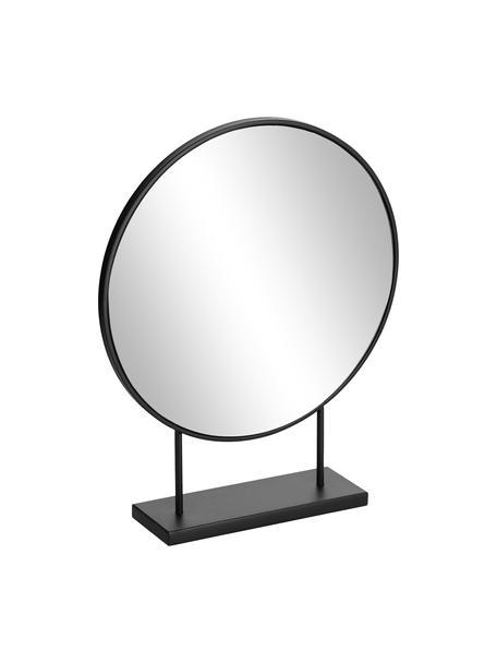 Runder Dekospiegel Libia mit schwarzem Metallrahmen, Spiegelfläche: Spiegelglas, Schwarz, 36 x 45 cm