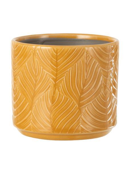 Kleiner Pflanztopf Tropis, Keramik, Ockergelb, Ø 12 x H 11 cm