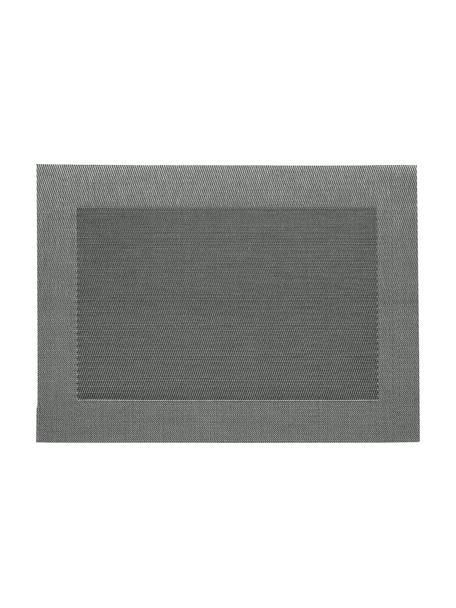 Kunststoffen placemats Modern, 2 stuks, Kunststof, Zilverkleurig, zwart, 33 x 46 cm