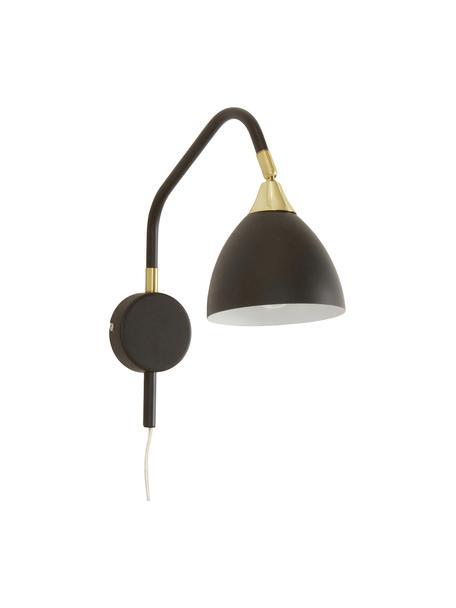 Wandlamp Luis, Lampenkap: gelakt metaal, Frame: gelakt metaal, Decoratie: gelakt metaal, Zwart, messingkleurig, 12 x 29 cm