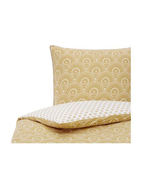 Dwustronna pościel z bawełny organicznej Tiara, Żółty, biały, 135 x 200 cm + 1 poduszka 80 x 80 cm