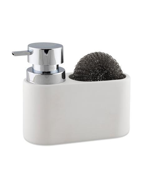 Set dispenser sapone con spugna Strepa 2 pz, Contenitore: poliresina, Testa della pompa: materiale sintetico ABS, Bianco, argentato, Larg. 19 x Alt. 15 cm