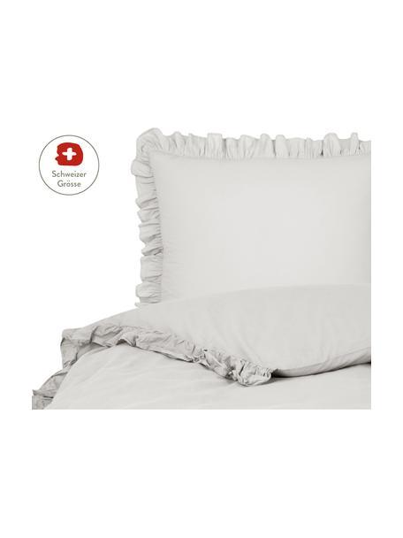 Gewaschener Baumwoll-Bettdeckenbezug Florence mit Rüschen, Webart: Perkal Fadendichte 180 TC, Hellgrau, 160 x 210 cm