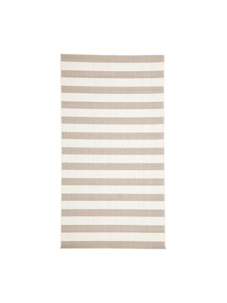 Gestreifter In- & Outdoor-Teppich Axa in Beige/Weiß, 86% Polypropylen, 14% Polyester, Cremeweiß, Beige, B 80 x L 150 cm (Größe XS)