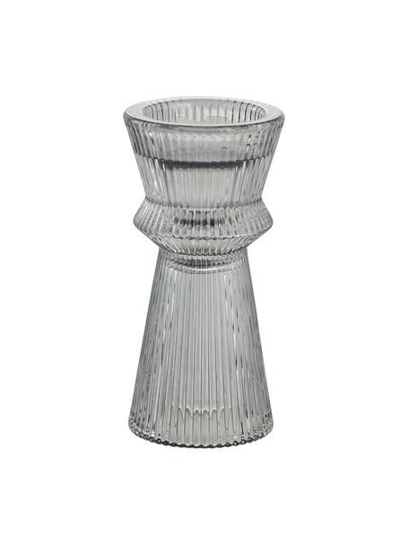 Candelabro Sivia, Vetro, Grigio trasparente, Ø 6 x Alt. 12 cm