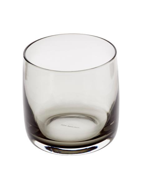 Handgemachte Wassergläser Colored in Grau, 6 Stück, Glas, Grau, transparent, Ø 8 x H 8 cm