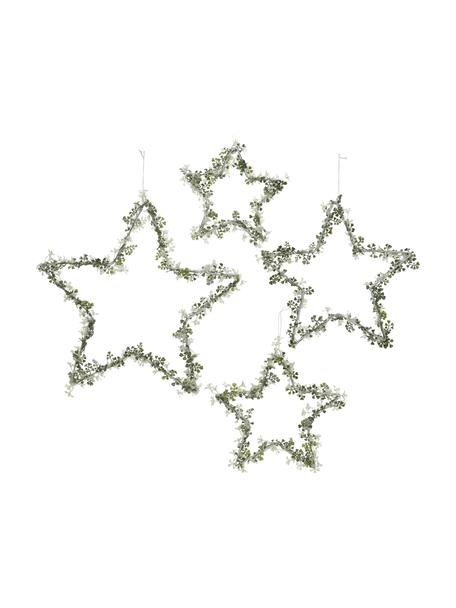Decoratieve sterren Starry in groen, 4 stuks, Metaal, Groen, wit, Set met verschillende formaten