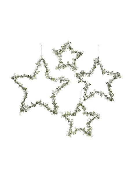 Komplet gwiazd dekoracyjnych Stars, 4 elem., Metal, Zielony, biały, Komplet z różnymi rozmiarami