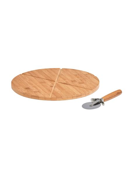 Bamboe pizzaset Italiana, 2-delig, Ø 32 cm, Bamboe, metaal, Ø 32 cm