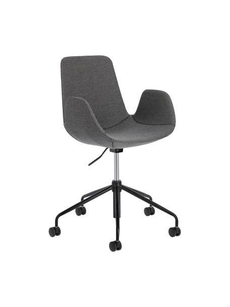 Biurowe krzesło tapicerowane, obrotowe Yolanda, Tapicerka: poliester, Stelaż: stal, powlekany, Szary, czarny, S 66 x G 72 cm