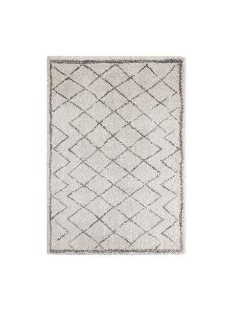 Hochflor-Teppich Luna Diamond mit Rautenmuster, Grau/Creme, Flor: 100% Polypropylen, Creme, Grau, B 120 x L 170 cm (Größe S)