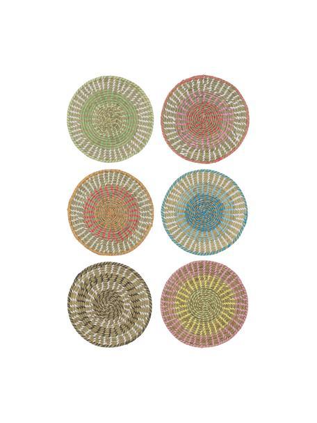 Ronde placematsset Mexico van natuurvezels, 6-delig, Stro, Multicolour, Ø 38 cm