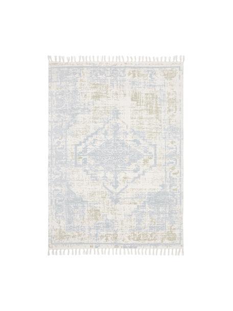 Handgewebter Baumwollteppich Jasmine in Beige/Blau im Vintage-Style, Beige, Blau, B 120 x L 180 cm (Größe S)