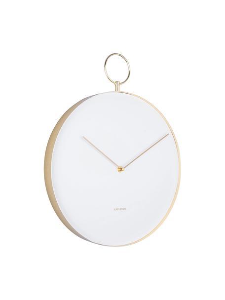 Zegar ścienny Hook, Metal powlekany, Biały, odcienie mosiądzu, Ø 34 cm