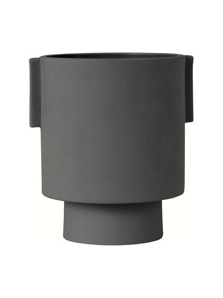 Macetero artesanal de cerámica Ika, Cerámica, Gris oscuro, Ø 15 x Al 16 cm
