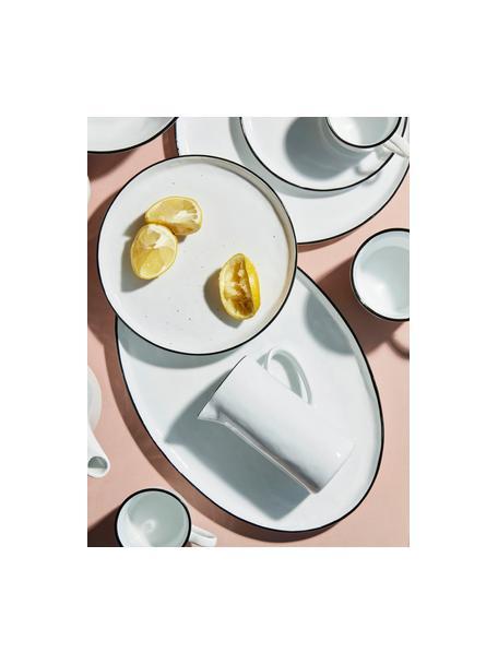 Ręcznie wykonany półmisek Salt, Porcelana, Złamana biel, czarny, D 30 x S 20 cm