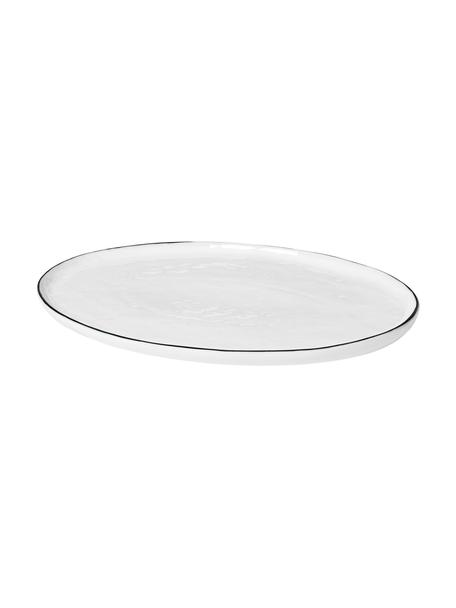 Piatto da portata fatto a mano con bordo nero Salt, 30x20 cm, Porcellana, Bianco latteo, nero, Lung. 30 x Larg. 20 cm