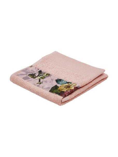 Handdoek Fleur in verschillende formaten, met bloemenrand, 97% katoen 3% polyester, Roze, multicolour, Gastendoekje