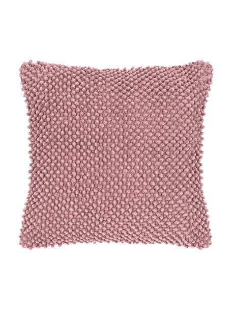 Poszewka na poduszkę ze strukturalną powierzchnią Indi, 100% bawełna, Brudny różowy, S 45 x D 45 cm