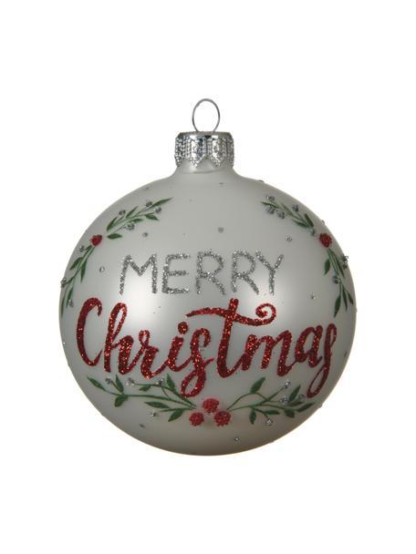 Kerstballen Merry Christmas, 2 stuks, Glas, Wit, rood, zilverkleurig, groen, Ø 8 cm