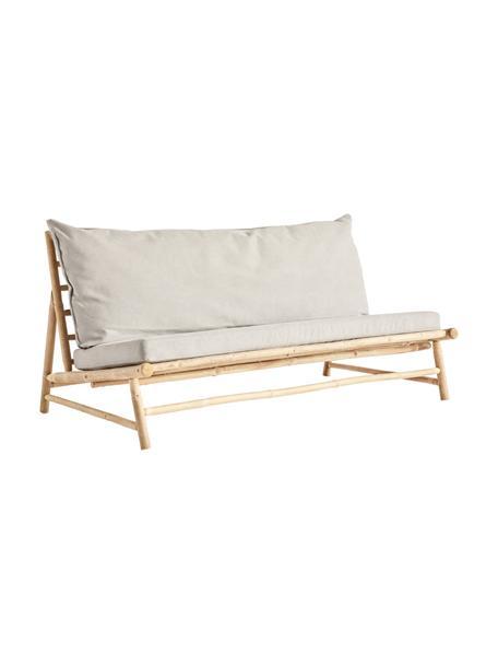 Bamboe loungebank Bamslow met bekleding, Frame: bamboe, Bekleding: 100% katoen, Grijs, bruin, 160 x 87 cm