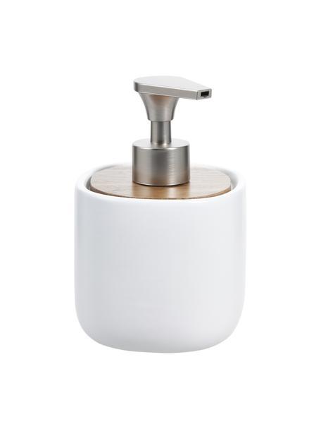 Dosificador de jabón Wili, Recipiente: cerámica, Dosificador: plástico, Blanco, madera de acacia, Ø 10 x Al 14 cm