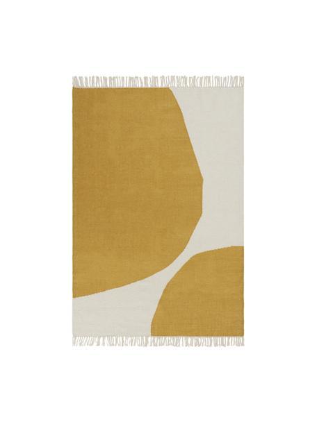 Tappeto Kilim tessuto a mano con motivo astratto Stones, 81% lana, 19% cotone Nel caso dei tappeti di lana, le fibre possono staccarsi nelle prime settimane di utilizzo, questo e la formazione di lanugine si riducono con l'uso quotidiano, Bianco latteo, giallo senape, Larg. 160 x Lung. 230 cm (taglia M)