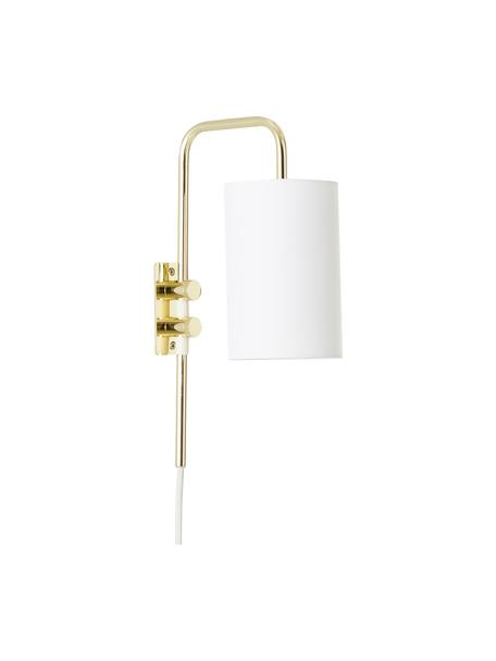 Kinkiet z wtyczką Isa, Stelaż: metal, Stelaż lampy i oprawa: Odcienie złotego, błyszczący Klosz: biały, S 12 x W 38 cm