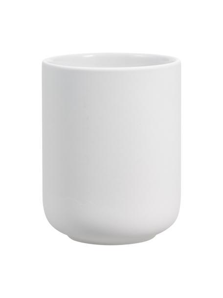 Porta spazzolini in gres Ume, Gres rivestita con superficie soft-touch (materiale sintetico), Bianco opaco, Ø 8 x Alt. 10 cm
