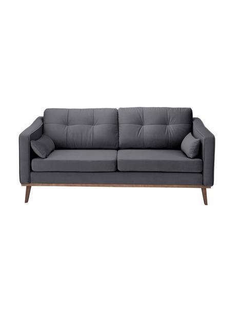 Sofa z aksamitu z drewnianymi nogami Alva (2-osobowa), Tapicerka: aksamit (wysokiej jakości, Nogi: lite drewno bukowe, barwi, Ciemny szary, S 184 x G 94 cm