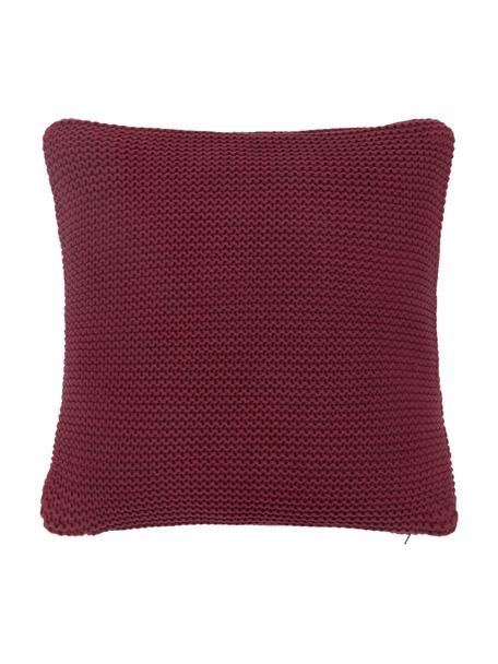Funda de cojín de punto de algodón ecológico Adalyn, 100%algodón ecológico, certificado GOTS, Rojo oscuro, An 40 x L 40 cm