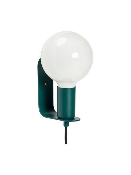 Kleine wandlamp Gelios met stekker, Peertje: glas, Groen, 5 x 15 cm