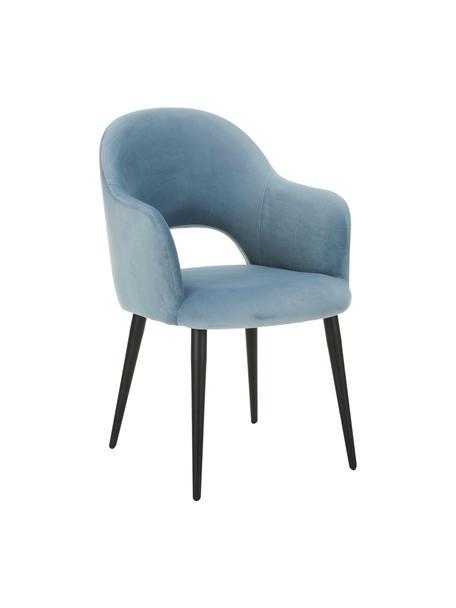 Krzesło z podłokietnikami z aksamitu Rachel, Tapicerka: aksamit (poliester) Dzięk, Nogi: metal malowany proszkowo, Aksamitny jasny niebieski, S 56 x G 70 cm