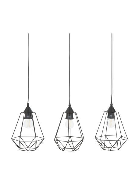 Lampa wisząca w stylu industrial Wire, Osłona mocowania sufitowego: czarny, klosz: czarny, kabel: czarny, S 75 x W 25 cm