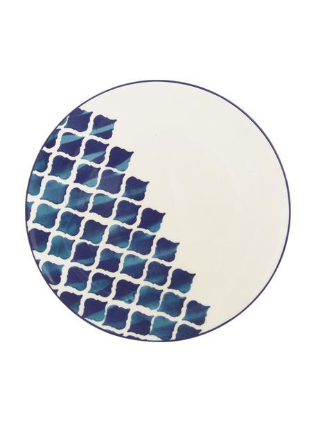 Platos llanos artesanales Ikat, 6uds., Cerámica, Blanco, azul, Ø 26 cm