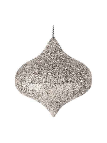 Kerstboomhangers Drop Ø 7 cm, 2 stuks, Polyresin, Zilverkleurig, Ø 7 x H 7 cm