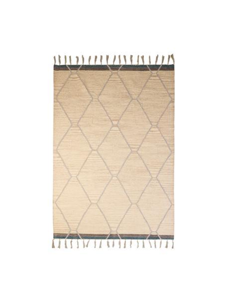 Wollen vloerkleed Jazmin met franjes en patroon, 80% wol, 20% katoen, Beige, grijs, blauw, B 120 x L 170 cm (maat S)