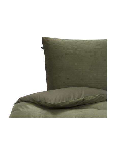 Cord-Bettwäsche Cosy Corduroy in Grün, Vorderseite: Cord (100% Polyester), Rückseite: 100% Baumwolle, Grün, 135 x 200 cm + 1 Kissen 80 x 80 cm