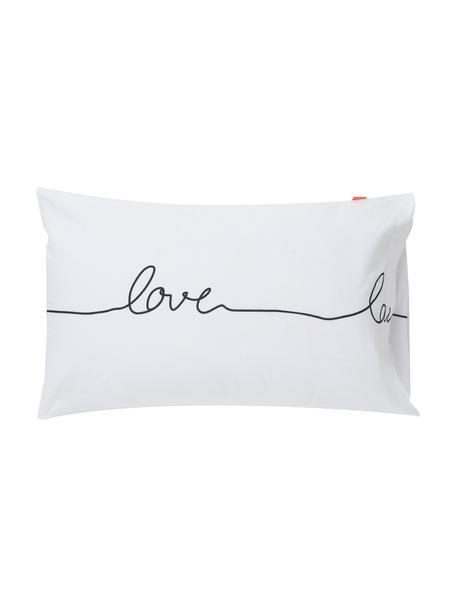 Fundas de almohada Live, 2uds., 50x75cm, 100%algodón El algodón da una sensación agradable y suave en la piel, absorbe bien la humedad y es adecuado para personas alérgicas, Blanco, negro, An 50 x L 75 cm