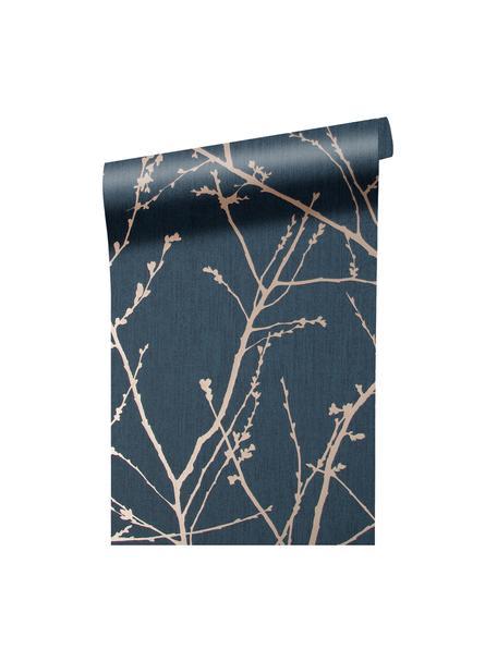 Papel pintado Nature Blue, Tejido no tejido, Azul, bronce, An 52 x Al 1005 cm
