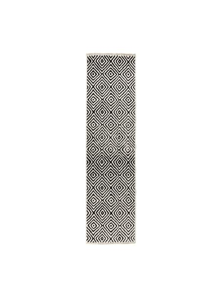 Kelim loper Mozaik in zwart/wit, 90% katoen, 10% polyester, Zwart, 80 x 300 cm
