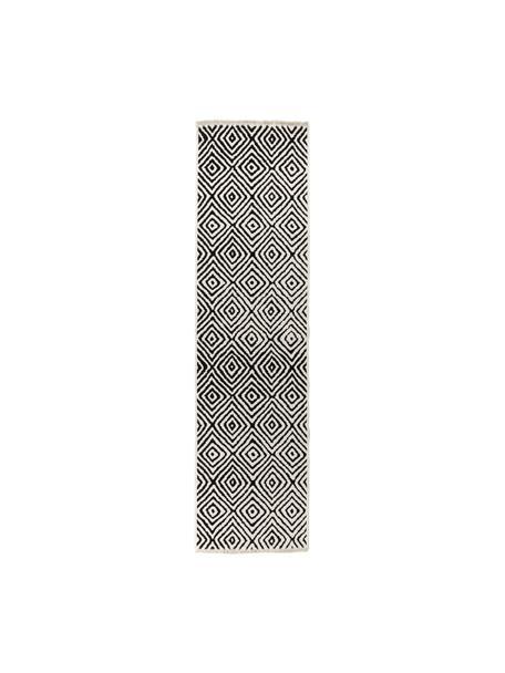 Passatoia Kilim color bianco/nero Mozaik, 90% cotone 10% poliestere, Nero, Larg. 80 x Lung. 300 cm