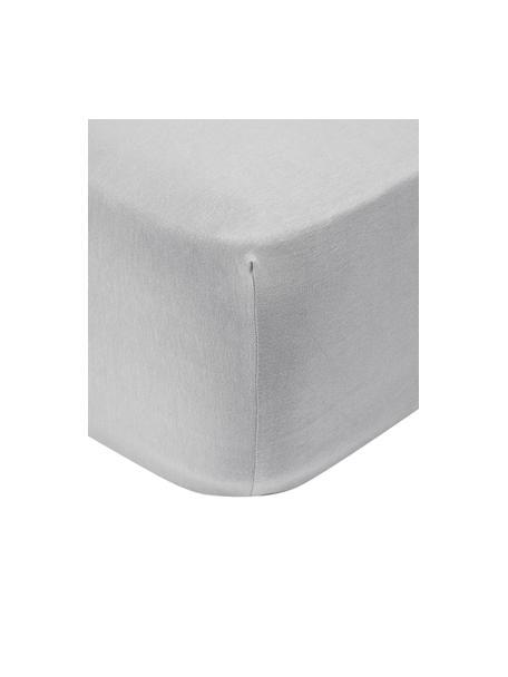 Boxspring hoeslaken Lara in lichtgrijs, jersey-elastaan, 95% katoen, 5% elastaan, Lichtgrijs, 90 x 200 cm