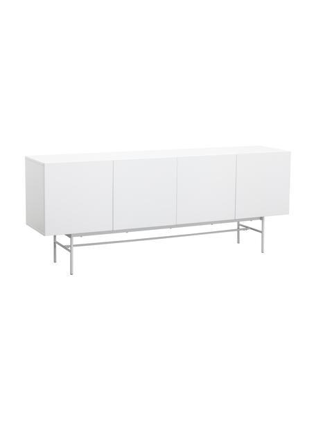 Modern dressoir Anders met deuren in wit, Frame: gelakt MDF, Poten: gepoedercoat metaal, Frame: wit. Poten: mat wit, 200 x 80 cm