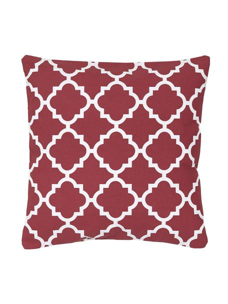 Funda de cojín Lana, 100% algodón, Rojo oscuro, blanco, An 45 x L 45 cm