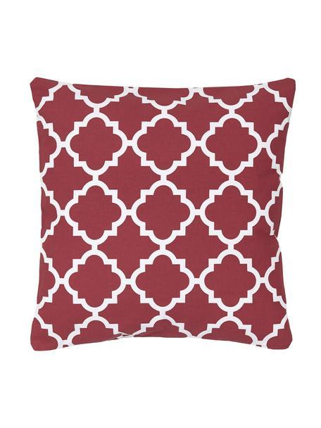 Kissenhülle Lana in Dunkelrot mit grafischem Muster, 100% Baumwolle, Dunkelrot, Weiß, 45 x 45 cm